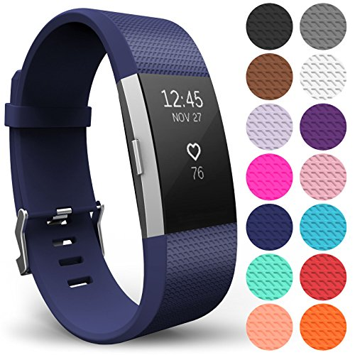 Yousave Accessories FitBit Charge 2 Strap Band - Replacement Silicone Sport Wristband for the FitBit Charge 2 – One to Ten Packs and 15 Colours Available (Large - Single Pack, Dark Blue) from Yousave Accessories