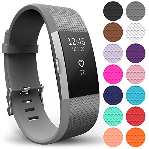 Yousave Accessories Replacement Strap for FitBit Charge 2, Silicone Sport Wristband for the FitBit Charge 2 - (Large - Single Pack, Grey) from Yousave Accessories