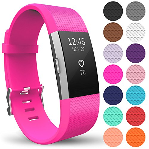 Yousave Accessories FitBit Charge 2 Strap Band - Replacement Silicone Sport Wristband for the FitBit Charge 2 – One to Ten Packs and 12 Colours Available (Large - Single Pack, Hot Pink) from Yousave Accessories
