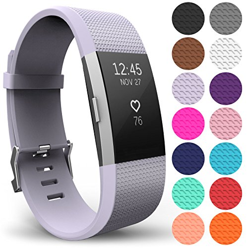 Yousave Accessories FitBit Charge 2 Strap Band - Replacement Silicone Sport Wristband for the FitBit Charge 2 – One to Ten Packs and 12 Colours Available (Large - Single Pack, Lilac) from Yousave Accessories