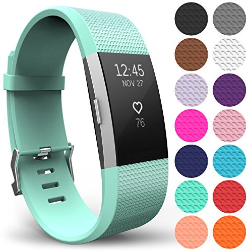 Yousave Accessories FitBit Charge 2 Strap Band - Replacement Silicone Sport Wristband for the FitBit Charge 2 – One to Ten Packs and 15 Colours Available (Large - Single Pack, Mint Green) from Yousave Accessories