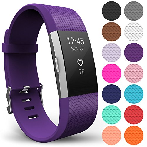 Yousave Accessories FitBit Charge 2 Strap Band - Replacement Silicone Sport Wristband for the FitBit Charge 2 – One to Ten Packs and 12 Colours Available (Large - Single Pack, Plum) from Yousave Accessories