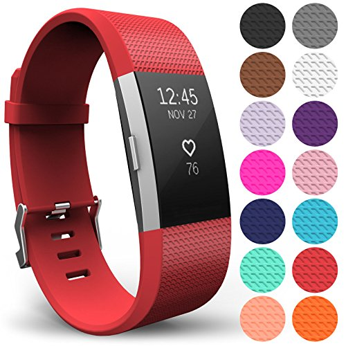 Yousave Accessories FitBit Charge 2 Strap Band - Replacement Silicone Sport Wristband for the FitBit Charge 2 – One to Ten Packs and 12 Colours Available (Large - Single Pack, Red) from Yousave Accessories