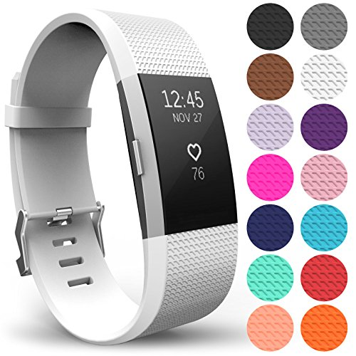 Yousave Accessories Replacement Strap for FitBit Charge 2, Silicone Sport Wristband for the FitBit Charge 2 - (Large - Single Pack, White) from Yousave Accessories