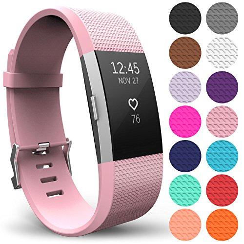 Yousave Accessories FitBit Charge 2 Strap Band - Replacement Silicone Sport Wristband for the FitBit Charge 2 – One to Ten Packs and 12 Colours Available (Small - Single Pack, Blush Pink) from Yousave Accessories
