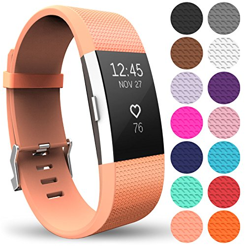 Yousave Accessories Replacement Strap for FitBit Charge 2, Silicone Sport Wristband for the FitBit Charge 2 - (Small - Single Pack, Peach) from Yousave Accessories