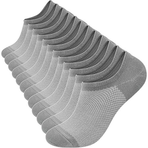 YousonGirl Bamboo 6PCS Fiber Net Breathable Sock Low Cut No Show Invisible Cotton Boat Sock, Prevent Blister, Anti-odour, Fitness and Athletic (GRAY) from Yuson Girl