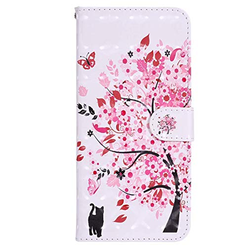 YSIMEE with Cases Huawei Y5 2017 Y6 2017 Cover,Wallet Leather 3D Effect Magnetic Closure Flip Cover TPU Inner Silicone Card Slots Holders Kickstand Shockproof Protection Case,Tree and Cat from Ysimee