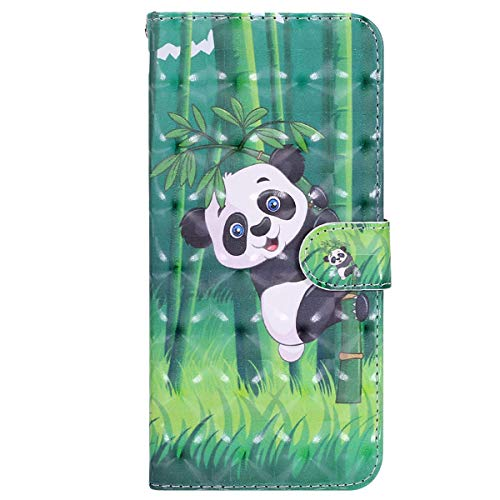 YSIMEE with Cases Samsung Galaxy J3 2015 J3 2016 Cover,Wallet Leather 3D Effect Magnetic Closure Flip Cover TPU Inner Silicone Card Slots Holders Kickstand Shockproof Protection Case,Bamboo Panda from Ysimee