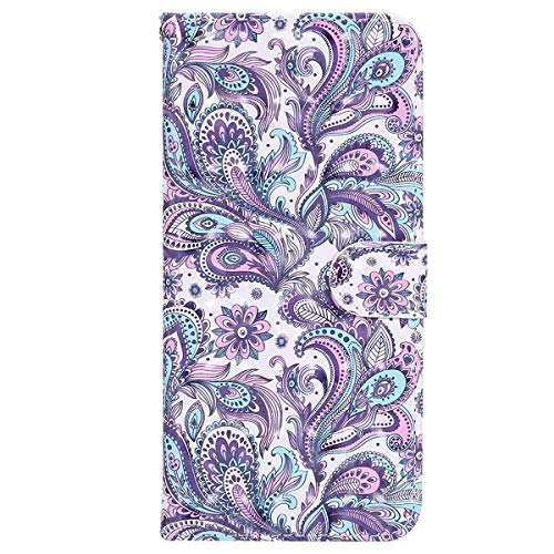 YSIMEE with Cases iPhone 6 Plus 6S Plus Cover,Wallet Leather 3D Effect Magnetic Closure Flip Cover TPU Inner Silicone Card Slots Holders Kickstand Shockproof Protection Case,Peacock Flower from Ysimee