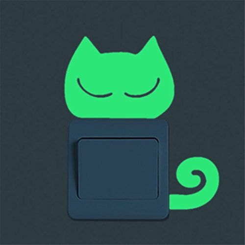 Switch Panel Stickers,Yukong Cute Kitten Wall Stickers Luminous Noctilucent Glow Switch for Bedroom Living Room (Green F) from Yukong