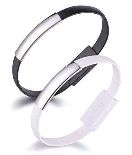 Yumilok Bracelet USB Data Cable Charging Cable Wristband Lightning Cable for iPhone 7, 7 Plus, 6, 6s, 6 Plus, 6s Plus, 5, 5s, 5c, SE, iPod und iPad, 2 Pack(Black, White) from Yumilok