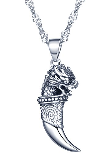 Yumilok Jewelry 925 Sterling Silver Cool Tiger's Head Wolf's Tooth Pendant Necklace for Women/Girls from Yumilok