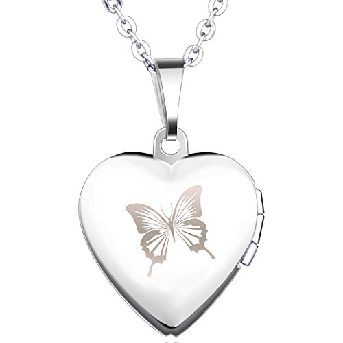 Yumilok Stainless Steel Blue Butterfly Open Heart Photo Locket Memory Pendant Necklace for Women/Girls/Couples from Yumilok