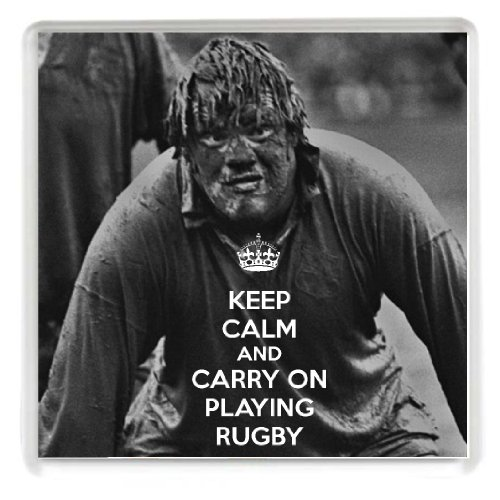 KEEP CALM AND CARRY ON PLAYING RUGBY Novelty Drinks Coaster with a picture of a muddy British Lions player. A Unique Gift idea for a rugby player or fan. from Yummy Grandmummy