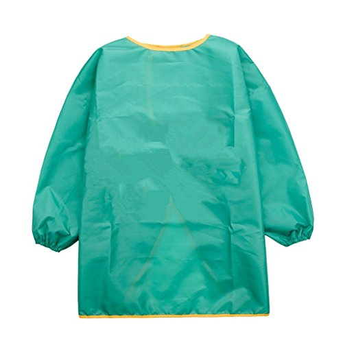 Yundxi Kids Child Long Sleeve Apron Waterproof Art Craft Smock for School, Painting Classroom, Home and Kitchen (Green, M) from Yundxi