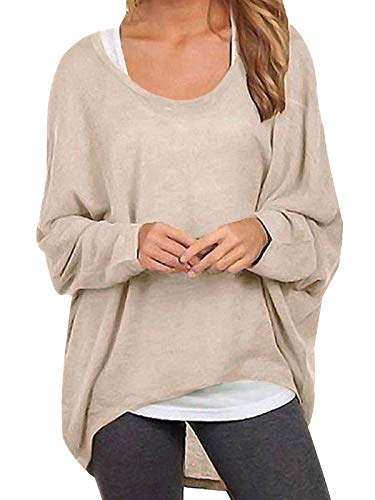 ZANZEA Sexy Women Loose Solid Irregular Long Sleeve Baggy Jumper Casual Tops Blouse T-Shirt Beige L from ZANZEA