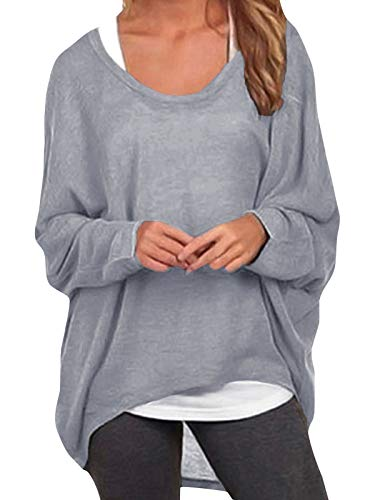 ZANZEA Sexy Women Loose Solid Irregular Long Sleeve Baggy Jumper Casual Tops Blouse T-Shirt Gray XL from ZANZEA