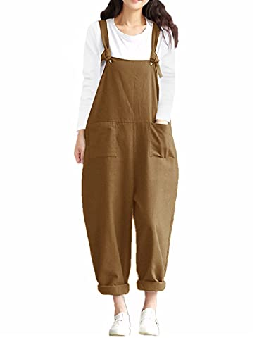 Styledome Women's Retro Loose Casual Baggy Sleeveless Overall Long Jumpsuit Playsuit Trousers Pants Dungarees (UK 18, Khaki) from ZANZEA