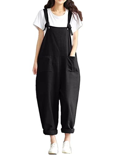Styledome Women's Retro Loose Casual Baggy Sleeveless Overall Long Jumpsuit Playsuit Trousers Pants Dungarees Black UK 8 from ZANZEA