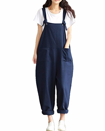 Styledome Women's Retro Loose Casual Baggy Sleeveless Overall Long Jumpsuit Playsuit Trousers Pants Dungarees Navy UK 16 from ZANZEA
