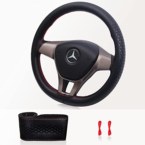 Leather Steering Wheel Cover - ZATOOTO DIY Car Steering Wheel Covers, Thin, Soft, Sew Steering Wheel Covers, Black with Red 37-38cm/15inch SA0720R from ZATOOTO
