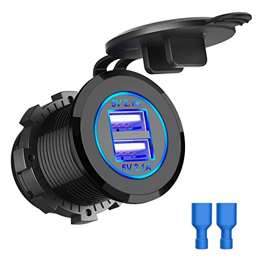 ZBLighting Dual 4.2A USB Car Charger Socket Waterproof Power Car Power Charger Socket Outlet 4.2A Fast Charge Car Charger Adapter for 12V~24V Vehicles Car Boat Motorcycle SUV Truck Caravan Marine from ZBLighting