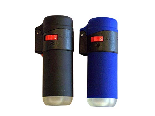 Black Or Blue Rubber Zenga Lighter With Flame Lock, Windproof Lighter, Electronic Lighter, Refillable Lighter, Jet Lighter, Gas Lighter, Turbo Lighter, Blowtorch Lighter, Transparent Lighter, See Through Lighter, Clear Lighter, (Black) from ZENGA