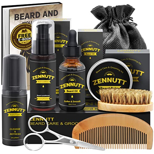 Beard Care Kit for Men w/Free Beard Conditioner & Beard Balm Butter & Beard Oil & 100% Boar Beard Brush & Wood Beard Comb & Beard & Mustache Scissors,Fathers Valentines Day Gifts for Him Dad Boyfriend from ZENNUTT