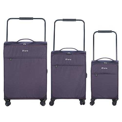 "ZFrame 4 Double Wheel Super Lightweight Suitcase 3 Piece Set, 18"", 22"", 26"", Purple, 10 Year Warranty from ZFrame"