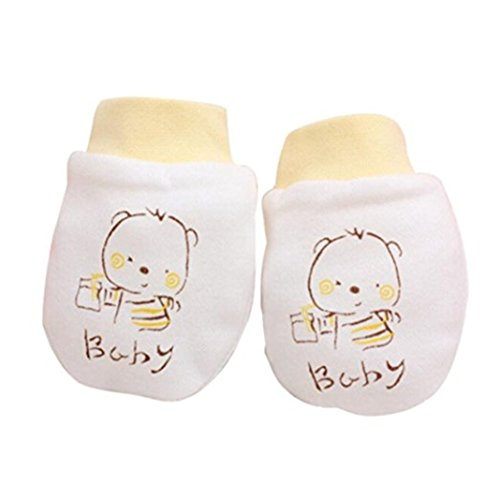 ZHOUBA 2 Pairs Cute Cartoon Baby Infant Boys Girls Anti Scratch Mittens Soft Newborn Gloves Gift - Yellow from ZHOUBA