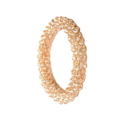 ZHOUBA Artificial Crystal Hairband Women Hair Rope Ring Elastic Ponytail Holder Champagne from ZHOUBA