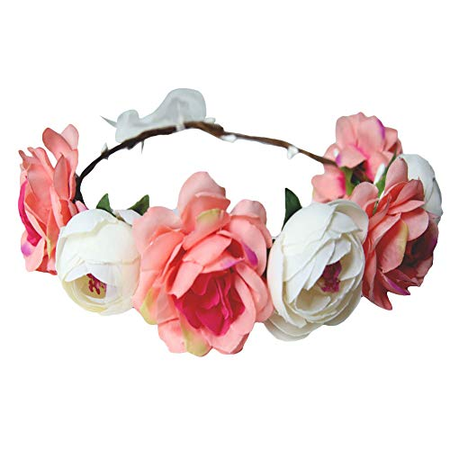 ZHOUBA Bride Wedding Artificial Flowers Headband Hair Band Garland Wreath Beach Party Beige from ZHOUBA