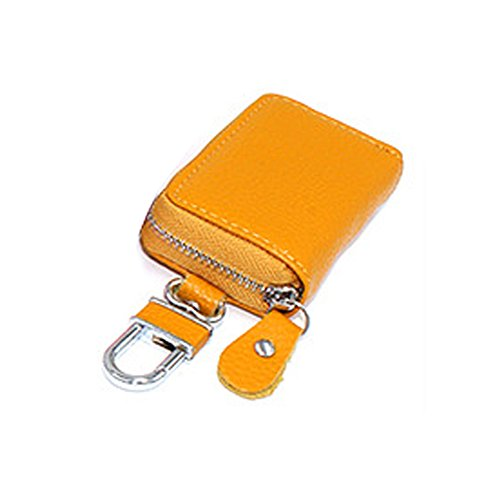 ZHOUBA Car Key Bag Faux Leather Key Holder Organizer Keychain Zipper Case Pouch Purse - Yellow from ZHOUBA