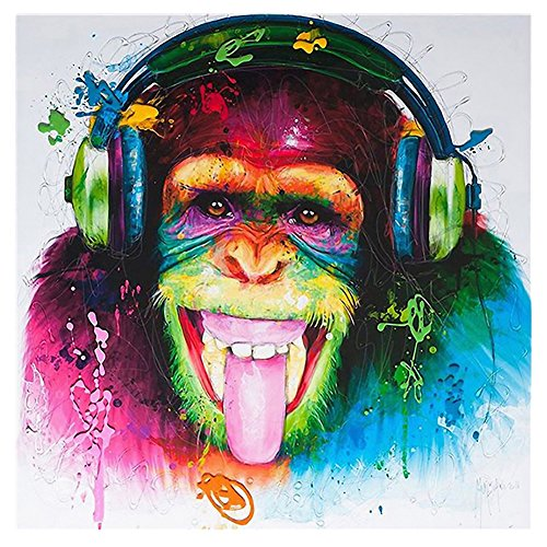 ZHOUBA Cartoon Multi-color Orangutan Painting Canvas Wall Art Craft Hanging Home Decor from ZHOUBA