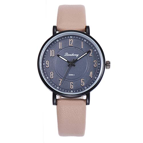ZHOUBA Fashion Unisex Round Dial Arabic Numbers Quartz Analog Wrist Watch Couple Gift - Khaki Men's from ZHOUBA
