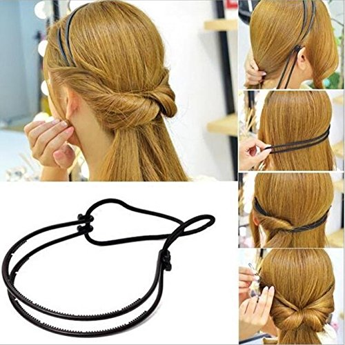 ZHOUBA Lady Hair Hoop Band Headband Elastic Rubber String Easy Hair Styling Making Tool Black from ZHOUBA