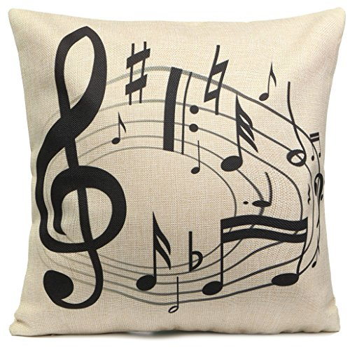 ZHOUBA Music Note Soft Linen Pillow Case Cushion Cover Home Sofa Car Decor - Note Stave from ZHOUBA