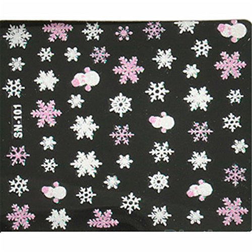 ZHOUBA Snowflakes Snowman 3D Nail Art Stickers Decals Girl Fingernail Accessories (Pink) from ZHOUBA