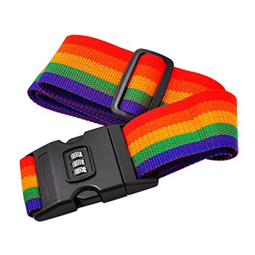 ZHOUBA Suitcase Luggage Straps - Adjustable Rainbow Luggage Packing Belt with Password Lock Clip from ZHOUBA