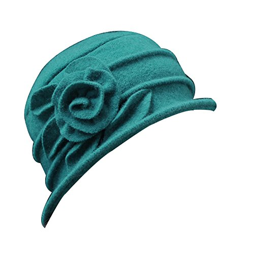 ZHOUBA Vintage Women Wool Church Cloche Flapper Hat Lady Bucket Winter Flower Cap (Green) from ZHOUBA