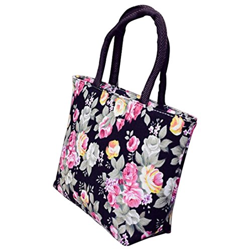 ZHOUBA Women Canvas Big Capacity Rose Flower Printed Shopping Handbag Tote Zipper Shoulder Bag - Black from ZHOUBA