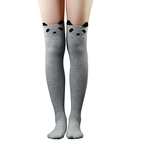 ZHOUBA Women Cute 3D Cartoon Animal Pattern Thigh Stockings Over Knee High Socks (Light Grey) from ZHOUBA