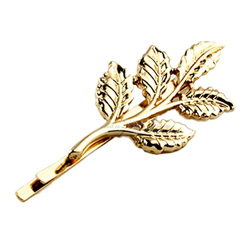 ZHOUBA Women Girl Alloy Golden Leaf Hair Clip Pin Accessory Xmas Gift from ZHOUBA