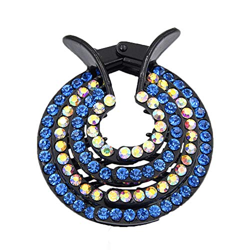 ZHOUBA Women Nest Expanding Bling Rhinestone Hairpin Hair Claw Clip Bun Holder Blue + AB from ZHOUBA
