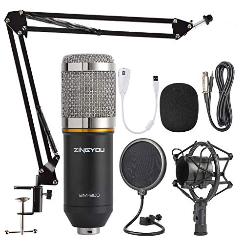 ZINGYOU Condenser Microphone Kit, BM-800 Mic Set with Adjustable Mic Suspension Scissor Arm, Metal Shock Mount and Double-layer Pop Filter for Studio Recording & Broadcasting from ZINGYOU