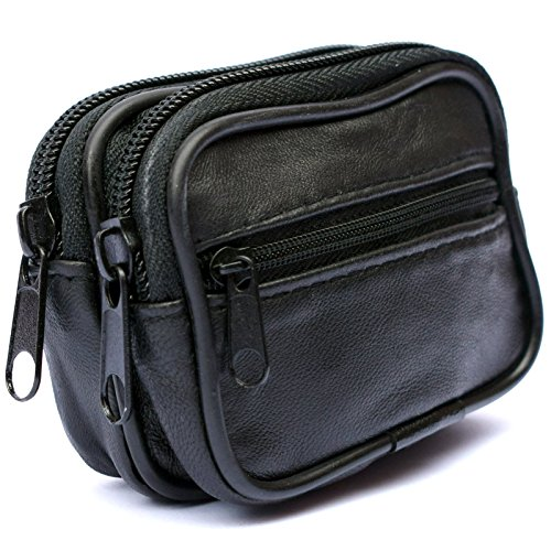 Mens and Ladies Small Real Leather Belt Wallet Purse Pouch Bag Three Zips from ZK Leathers