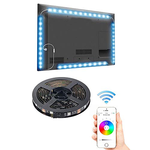 LED TV Backlight with Bluetooth APP Control, 4 x 0.5M RGB Multicolor LED Strip Light Smart Phone BT Control Sync to Music Timer Flexible for 40-60in HDTV, Monitor & DIY Decoration (USB Powered) from ZXX
