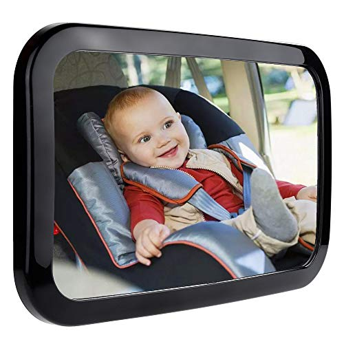 Zacro Baby Car Mirror - Large Fully Adjustable Shatter Proof Baby View Car Mirror Give Clear Views for Rear - Facing Car Seat, Strapped on Back Seat Headrest, Well - Designed for Baby Safety from Zacro