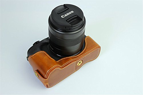 EOS M5 Case Black Zakao Genuine Real Leather Half Bottom Opening Version Holster Camera Case With Hand Strap Protective Cover Bag Case for Canon Eos M5